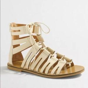 J Crew Lace-up Gladiator Sandals 8.5 Bone Ivory